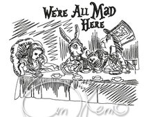 MACHINE EMBROIDERY DESIGN - Mad hatters tea party, Alice in Wonderland
