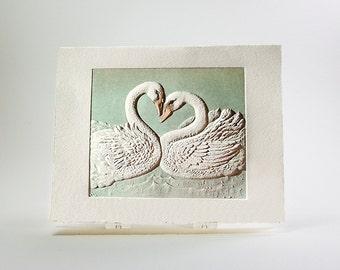 Swans Card Love Card Valentine Card Letterpress Embossed. Single Card. Blank inside.