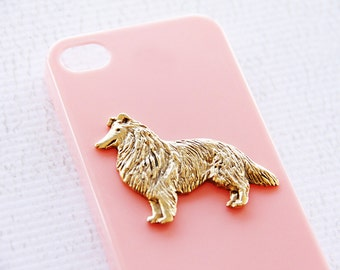 Border Collie Apple iPhone 7 or  Chic Gold Plated Pink Cell Phone Case iPhone 6 Plus Case iPhone 6 Case Pink iPhone 6 Plus Dog Case