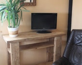 handmade chunky tv stand in reclaimed wood - contact us BEFORE buying due to reduced COURIER options - bespoke, rustic industrial fusion UK