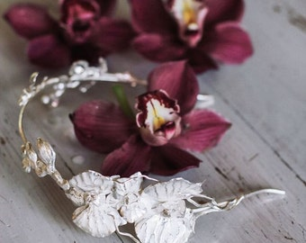 Bridal headband with orchid flowers - bridal headpiece - sterling silver wedding headband - wedding hair accessory - flower crown
