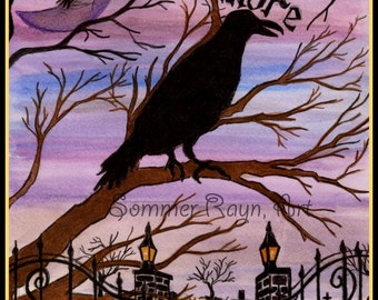 The Raven, Nevermore, Purple Card or Print, Silhouette Drawing with watercolor accents, Item #0095a