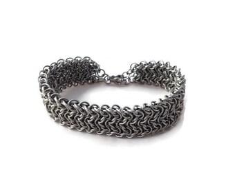 Men's Stainless Steel Bracelet - Elfsheet Chainmaille Bracelet - Wide Chainmaille Bracelet