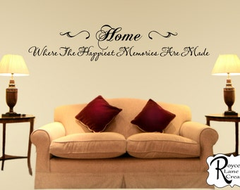 Family Wall Decal  Home Where The Happiest Memories Are Made  Family Wall  Quotes  Part 90