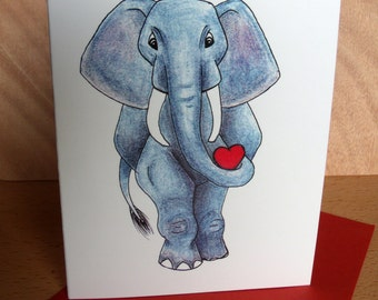 Valentine's Card- I Love You a Ton!- Handmade Design-Elephant Card
