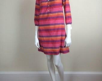mod pink striped minidress 60's