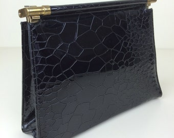 Garay black croc embossed structured clutch handbag 60's