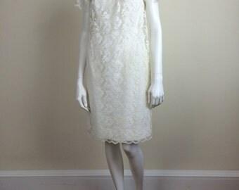 ivory white lace overlay mod wedding dress 60's bridal