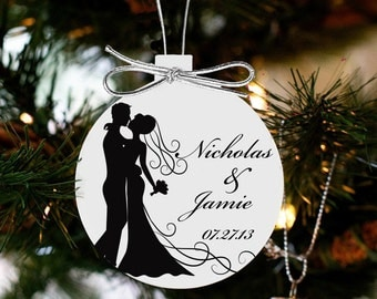 our first Christmas together silhouette  couples first christmas ornament Personalized date WSO