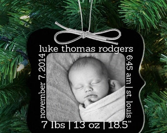 baby's first christmas birth statistics ornament - personalized photo 1st christmas height weight personalized ornament FCBSO