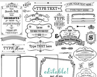 Vintage Badges, Banners, Frames, Labels, Editable Text, Cards, Invitations, scrapbooking, INSTANT DOWNLOAD, CU, wedding, Logo Templates