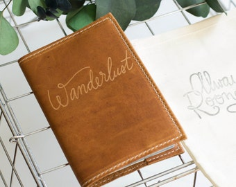 Leather Passport Cover With Wanderlust Engraved Design