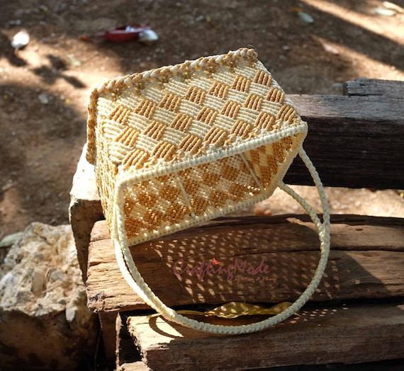 Basket Weaving Gifts : Items similar to macrame basket handmade medium size