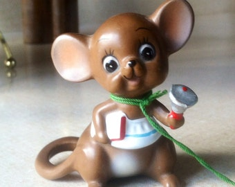 "Josef Original's 1960's Teacher Mouse with Bell ""Mouse Village"" Figurine Collectible Teacher Gift"