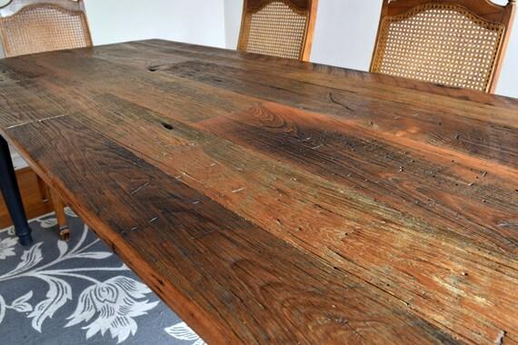 Reclaimed Chestnut Wood Rustic Dining Table | Farmhouse Reclaimed Wood  Kitchen Farm Table | Painted Legs U0026 Skirt