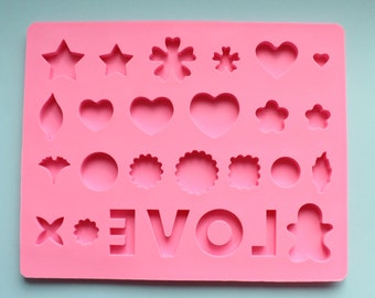 """Shiny """"Love"""" Hearts Silicone Mold for Resin, Food, Polymer Clay & More"""