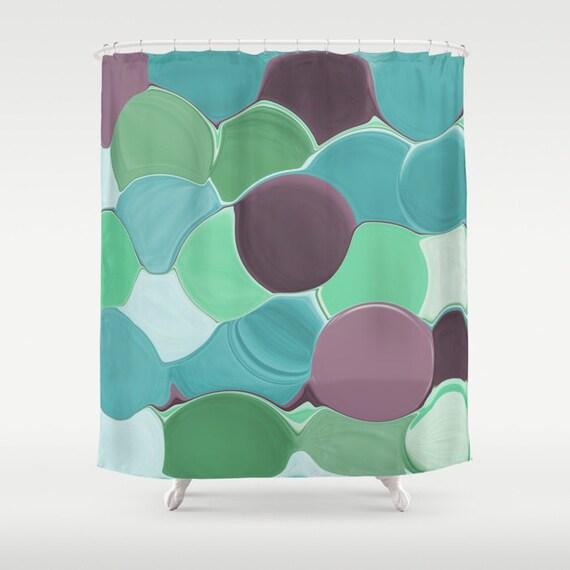 Shower Curtain Teal Turquoise Aqua Mint Purple Plum Green