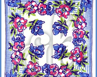 Vintage Bluebell Handkerchief INSTANT DOWNLOAD