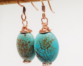 Turquoise Dyed Howlite Wrapped Copper Earrings