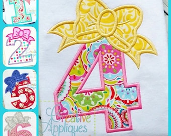 Bow Numbers Birthday Set Applique Digital Machine Embroidery Design 3 Sizes