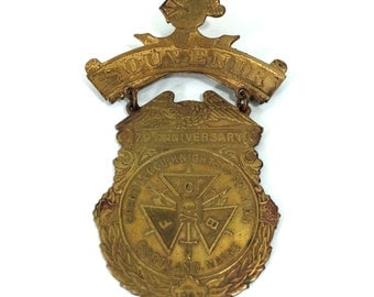 Antique 1897 Knights of Pythias Medal, 25th Anniversary Souvenir Badge from Portland Maine