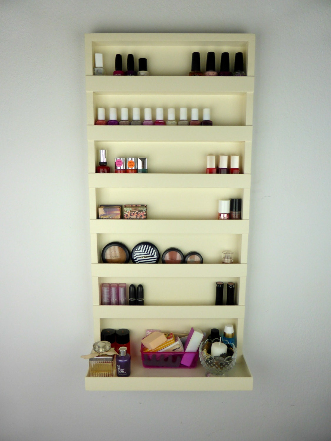 cream nail polish rack make up organizer bathroom storage. Black Bedroom Furniture Sets. Home Design Ideas