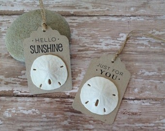 Beach Gift Tags, Sand Dollar Tags Set of 8