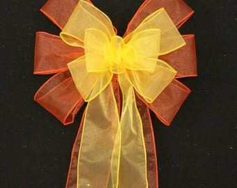 Yellow Orange Wedding Pew Bows - Church Pew Decorations, Wedding Aisle Decorations, Wedding Ceremony Bow, Wedding Chair Bows