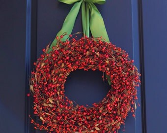 Thanksgiving Wreath - Fall Wreath - Rustic Thanksgiving Wreath - Rustic Fall Wreath - Autumn Wreath - Fall Berry Wreath - Orange Wreath