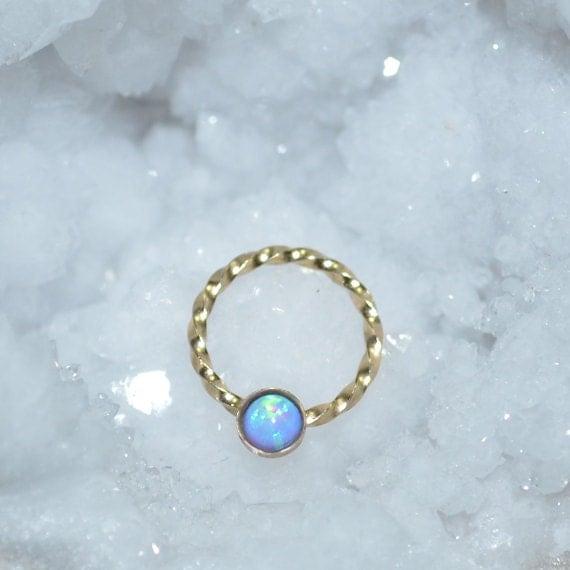 Blue 3mm Opal Nipple Ring - Gold Septum Jewelry - Nipple Piercing - Septum Ring - Cartilage Hoop - Helix Piersing - Nipple Jewelry 16 gauge