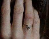 Diamond Engagement Ring With Pave Diamonds,Trillion Wedding Ring, 0.2 Carat Diamond BAnd, 18k Solid Gold