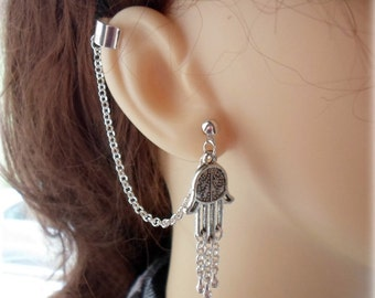 Hamsa, Prayer Hands Ear Cuff - Earring Stud, Silver Plated - No Upper Ear Piercing Required