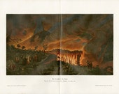 Awesome Antique Volcano Print C. 1900 Vesuvius Eruption 1776 Italy