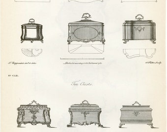 """Vintage Chippendale Furniture Print """"Designs for Tea Chests"""" and """"Designs for Fire Screens"""" c-1938 Antique Chippendale Vintage Decor"""