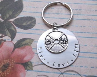 Stainless steel hand stamped key ring key chain crossfit key ring 25 lb weight charm exercise pendant  live love lift