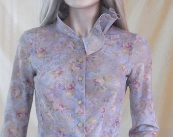 flowered shirt ,woman blouse, spring shirt, flowered blouse, flowered top