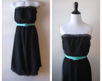 Vintage 1970s Black Strapless Summer Dress