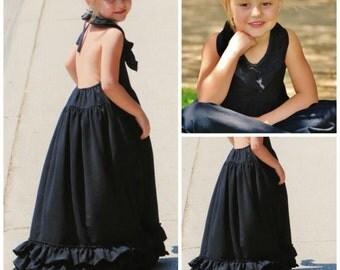 Girls Black Maxi - Black Long Girls Dress - Toddlers Long Dress // Girls Black Dress // Black Maxi Dress