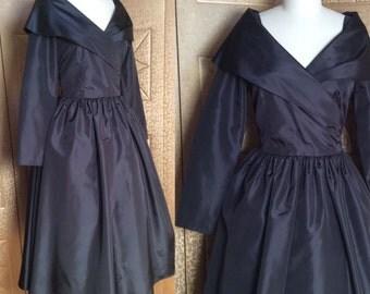 SUPER GLAM Vintage 80s Does 40s/50s Black Shawl Collar Full Skirt Taffeta Party Evening Dress M