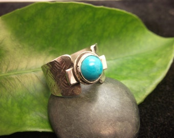 Turquoise Ring Sterling Silver Handmade Semi Precious Gemstone Hammered Design
