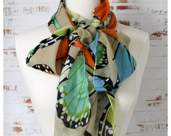Women Fashion Summer Scarf Long Modern Bridal Spring Scarf with Butterflies Multicolor
