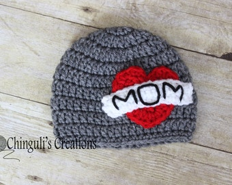 Mother's Day Crochet Hat Crochet Mom Tattoo Hat
