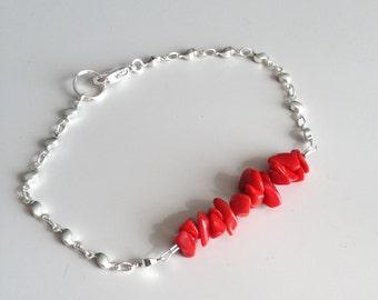 Red Silver Bracelet - Light Bracelet - Dainty Bracelet - Delicate Bracelet - Red Bracelet - Red Jasper Bracelet
