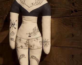 OOAK Hand Painted Tattooed Girl - Heart Tattoo Handmade Art Doll - OOAK Rag Doll Melle Angèle - Ornamental Love Doll - Unique Home Decor