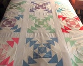 Stunning Rare Vintage 1970's Wild Goose Chase Handmade Patchwork Quilt made from Polyester Double Knit - Like New!