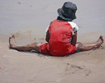 Limited edition   giclee art print   original print   impressionist   painting print   beach art   modern art   wall art   Beach Day
