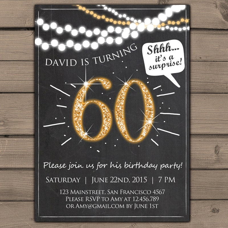 60th Birthday Invitation Gold Glitter Surprise Party