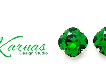 MOSS GREEN 12mm *DISCONTINUED* Cushion Cut Post or Stud Earrings Swarovski Elements *Pick Your Finish *Karnas Design Studio *Free Shipping