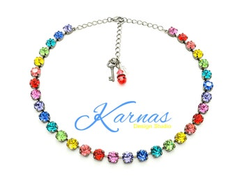 RAINBOW EFFECT 8mm Crystal Chaton Necklace Made With Swarovski Elements *Pick Your Finish *Karnas Design Studio *Free Shipping*