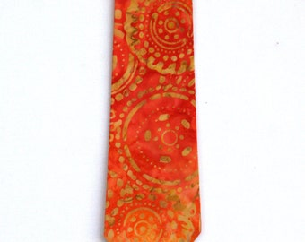 Sunny Orange Batik Necktie